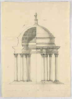 Drawing, Recto: a pavilion; Verso: sketches