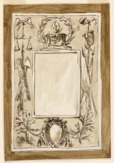 Vertical rectangle. Inner frame similar to 1938-88-1906. Above it stands a tripod in front of a wreath. Beside hang trophies from bowknots, the left one with a pair of scales, fasces and a military flail, the right one with musical instruments and colors. In the center below is a prelate's escutcheon, with the ribbons of the trophies fastened to it; beside are branches. Framing molding. Dark background.