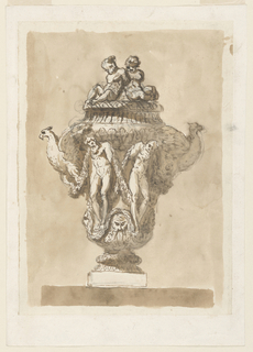 Drawing, Decorative urn