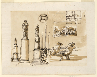 Drawing, Lighting fixtures; a plan; two men at a table