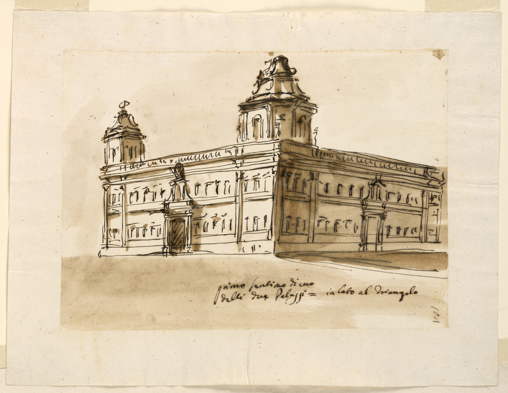 Drawing, Large palace block with towered corner pavilions