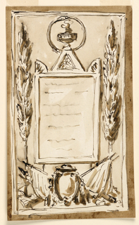 Vertical rectangle. The inner frame has a cresting; in the center is a triangle with a vase crowned with flames, beside acroteria. The vase is encircled by a serpent, in the panel of the outer frame. Below, is a variation of the motif in 1938-88-1906; two trees, laterally. Dark background.