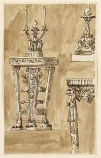 Drawing, Console table and candlestick