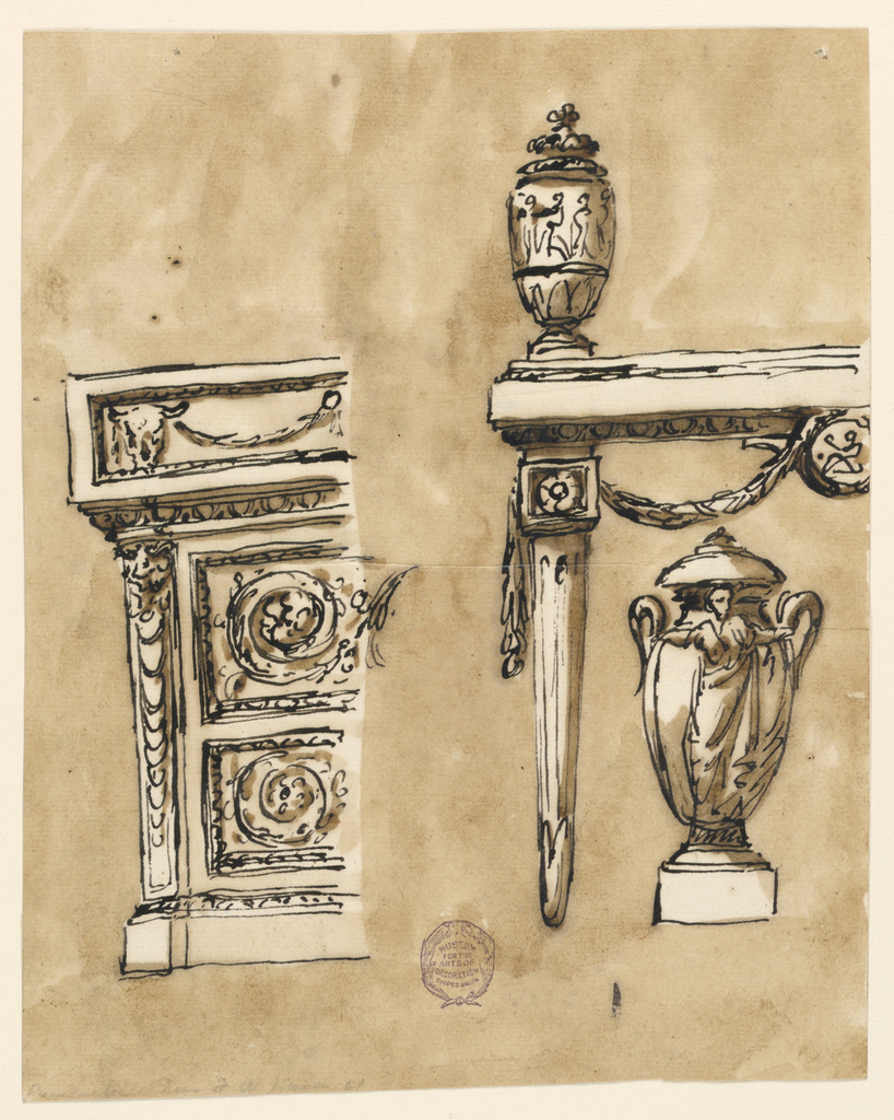 Elevation of a table with strait, fluted legs and swags. Two urns decorated with figures. At left, partial view of a console table decorated with rinceaux and bucranium.