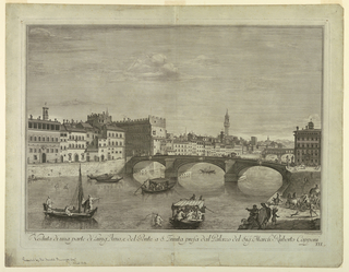 Print, View of the Lungarno and the Ponte Santa Trinita, 1711–67