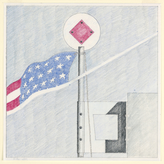 Square format drawing with black framing lines. Detail of the top of the flagpole designed for Bargehouse. Chrome metal pole topped with a white circle containing a red diamond, secured by black bolts. Partial detail of an American flag attached to the pole with rope at left. Pole anchored to a building or wall near top, connected by chrome square with trapezoidal cut out.