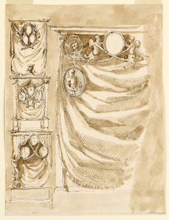 Vertical rectangle. Left row: the three frames are surrounded by two crossed branches. The curtains hang from a pole. Center: in the general shape of an altar with gaines having masks in capitals supporting the entablature. A flower bowl and spirals are on top. The three portraits are supported by crossed branches. Bottom: the portraits hang in front of the tent-curtain. They are connected by ropes or garlands. The lower ones are supported by half-figures standing with their fishtail legs upon a pedestal. Only the left figure is shown. At right the left side is shown. A curtain is suspended in front of an angular niche. In front of it is in the center above an ovoidal frame which two winged half-figures of putti support who spring from the ends of rinceaux. Festoons hang from the frame to blossoms at the ends of spirals. From the blossoms hang ovoidal medallions; in the left one the half-figure of a bearded warrior is shown. Colored background.
