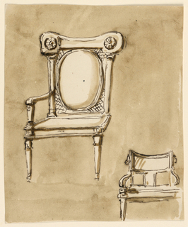 At left is an armchair, seen from the left corner; the left arm is omitted, so are the back legs. The back is an upholstered big oval framed laterally by columns, supporting a kind of curved entablature. The space between the upholstering and the frame is filled by straw plaiting. Below, at right, is the sketch of a chair, seen from the front. The upper part of the back is a curved rectangle, supported in the center by a board and outside by bars. The arms are springing from the lower corners. Only the left front leg is drawn. Usual background.