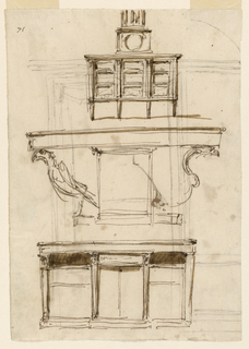 Designs for a cupboard, table, and writing desk.