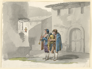 """Drawing, """"Pifferari,"""" Two Pipers from the Abruzzi in Rome"""