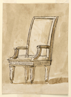 Chair in three-quarter view, with a tall rectangular back, square seat, short straight arms, and gently tapering legs on ball feet. The only ornamentation is the backward C-curves on the arms, entablature-like vertical striations on the seat, and balls at the end of the legs.