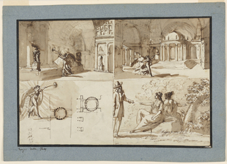 Horizontal rectangle. Two drawings interior of temple of glory with tuba blowing Nike (?), detail drawing of the same person and ground plan of stage setting. Group of men and two women in landscape.