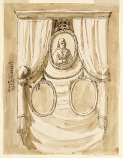 Vertical rectangle. Three ovoidal portraits are intended to hang in front of a curtain. Pope Pius is shown, above. Below is a festoon of a cord with two frames hanging on its ends. Colored background. An account is written, at left.