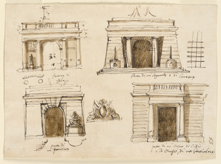 Top row: section of a dado; ornament. Second row: elevation of a gateway of a palace. Arched door opening flanked by wall panels and Doric columns. Statues and reliefs are to decorate the panels. Balustrade on top. Eelvation of a gateway of a prison. the door opening is in the rear wall of a vestibule, which is bordered in front by two Doric columns and flanking pylons. Crossed bars. Bottom: elevation of a doorway for barracks. The door opeing is flanked by wall panels from which pedestals with trophies of arms project. Beneath: plan. A trophy of arms. Elevation of a doorway for a casino. Oblong opening flanked by embedded Doric columns. Balustrade on top.
