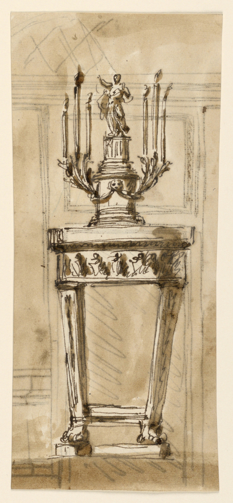 The supports are two oblique pillars with lion's feet connected above these by moldings. The frame has the shape of a frieze with figures, the top has the shape of cornices of an entablature. The candlestick is a variation of -2030, the pedestal having also a round shape, the lion's mask, the festoons and the brakcets being attached to it. The column is fluted. Usual background. On the reverse is part of a project, in ink, of the decoration of the entrance wall of a room. Above a door is a panel, beside it, at left, a dado and a panel. Above is an entablature and the vaulted lower part of the ceiling.