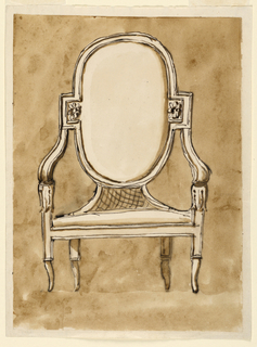 The chair stands on curved feet- the upper part straight and the lower curved inward. The arms are gently sloping, curved up, terminating in floral rosettes. The seat has the shape of an oval with rectangular extensions in the middles. The arms support the extentions. The lower part of the frame of the back is connected with the seat by curved fillets. Panels filled by trellis.