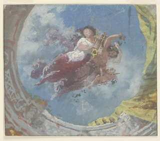 Drawing, Painted Ceiling, Two Allegorical Figures