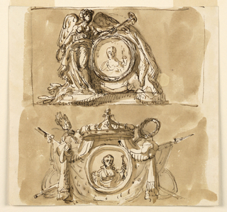 Drawing, Two allegorical portraits