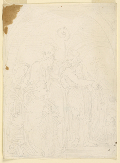 At right, Saint John, standing, and pointing at the lamb beside him, addressing a kneeling devout at left, probably a woman. Behind her stands the bishop, without headgear, carrying the pastoral staff in his left hand and leaning his right hand against the shoulder of the woman. Outer-most, at left, is a kneeling girl, with a book in her right hand. T he scenery represents a vaulted structure, with two openings at the back. Framing line.