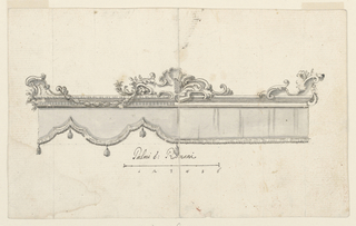 Drawing, Cresting of a canopy (V: figure sketches), ca. 1750–75