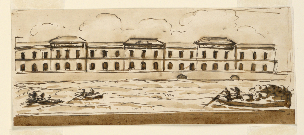 Drawing, Elevation of a factory (?) at edge of river