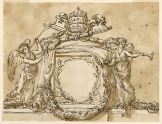 Horizontal rectangle. Below is a base like an entablature. Upon it, in the center, is a pedestal covered by a cloth which has been raised from the front by two winged female genii blowing trumpets. In the front is a wreath of two branches. Upon the pedestal are the keys and the tiara. Below is a garland. Usual background.