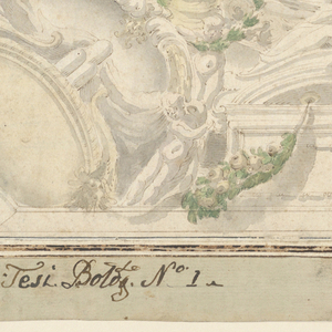 Quarter of a ceiling design. View of an entablature and balustrade suspended at the side by an arch. Term figures carry fruit and baskets.