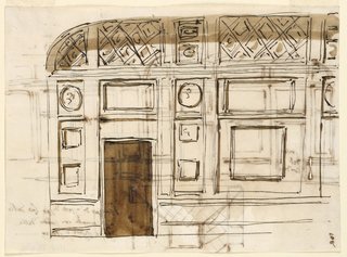 Drawing, Wall elevation with door