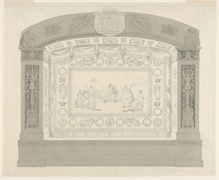 Drawing, Proscenium and Stage Curtain: Apollo and the Muses