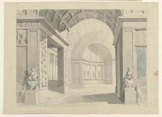 Horizontal rectangle. View into palace hall, ending in apsidial niche, sculptures in front.