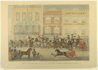 Crowded street, before three buildings. Gloucester Coffee House, left; hat maker center, miller and fish salesman, right. Many carts and carriages in the street. Title, artist's and publisher's names and date below.