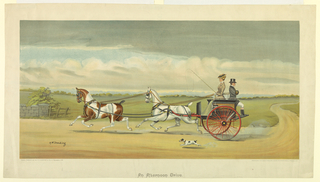 Two-horse carriage on a country road, the woman driving, facing left; the man facing away, right. Title, artist's and publisher's names and date below.