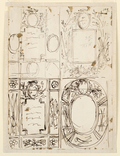 """Vertical rectangle. Two rows, the sketches in the upper one drawn with a finer pen than the ones below and partly over accountings written in pencil. Upper row, at left: above, a prelate's escutcheon, three others beside and below the inner tablet. At right: the inner oblong is framed by crossed branches, with trophies, laterally in front. Above the escutcheon. Bottom row, at left, the escutcheon is on top of the inner tablet. Its upper part is in front of the framing. It consists of oblongs and squares with rosettes in the corners. In the lateral oblongs are trophies. At right, the inner tablet is ovoidal, with an escutcheon on top, which evidently is intended to be supported by two flying genii. The framing is ovoidal, with trophies in the lateral and bottom panels. """"109"""" is written in the upper right corner."""
