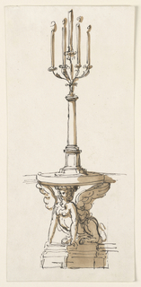 Drawing, Console table with candelstick