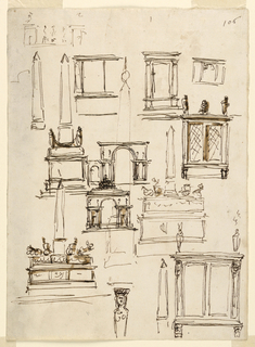 Drawing, Monuments, gateways, altar and cabinet