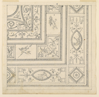 Quarter of a ceiling in the neoclassical fashion. Ceiling divided into panels which are further divided into geometric shapes. Nude classical figures recline within marquise-shaped cartouches. Two flying putti flank a V-shaped panel with grotesques.