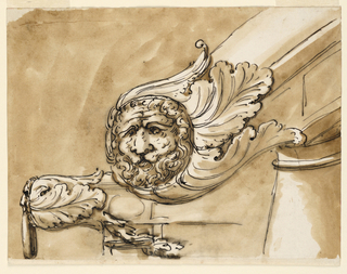 Two views of stone railing terminating in masks with acanthus leaves. The one at left shows a hang ring.