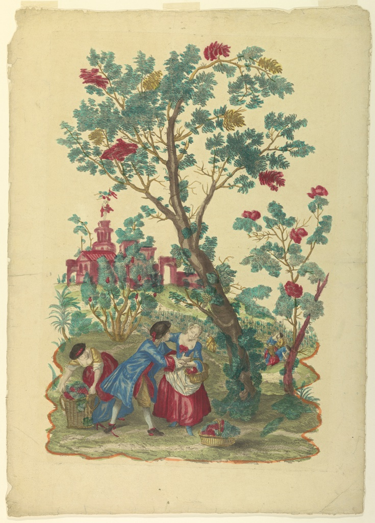 Boys and girls engaged in gathering grapes into baskets and in love-making. A couple and a girl under a tree in the foreground; others in a vineyard in the background. Houses in the left distance.