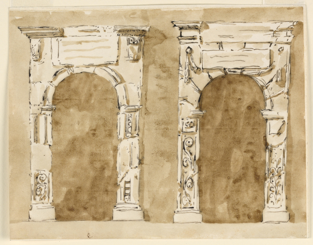Drawing, Door frames giving impression of Renaissance works in ruins