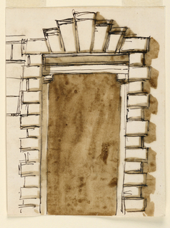 Drawing, Elevation of a doorcase