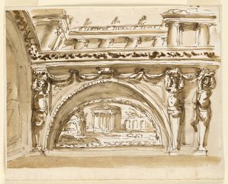 Horizontal rectangle. A variation of the of -1524. The supports are gaines with half figures of Atlantes. A view of an Ionic arcade is shown over the entablature.