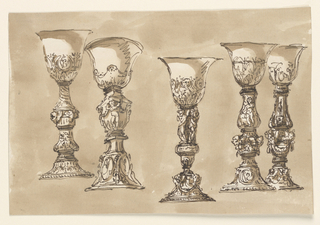 Drawing, Five chalices
