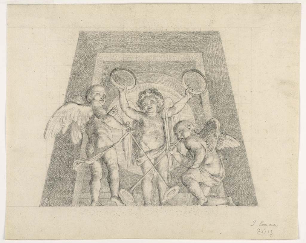 Design for a lunette.  Two standing and one kneeling putti (to the right) with musical instruments (trumpets and tambourines), shown against the trapezoidal frame of an oculus
