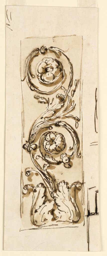 An acanthus rinceaux. Rising from a calix, with two spirals. The panel is outlined. Beside, at right, and above, at left, lines belonging to other sketches.