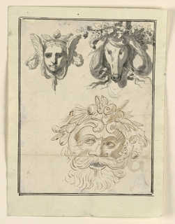 Above, left: a winged head of a woman with a drapery festoon. At right, the head of a stag with leaves and ribbons. Below is the mask of a bearded man with a crown of fruit.