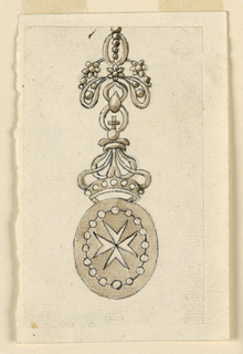 Design for a badge of a medal. The medal consists of an ovoid showing a Maltese cross framed by a string of beads. On top is a crown which hangs from a knotted bow.