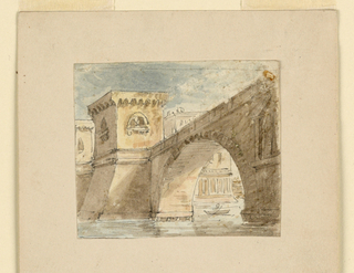Horizontal rectangle. Bridge on high arch leading across water, figure in boat below.