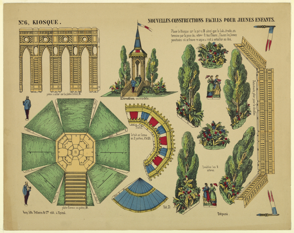 Sheet with cut-and-paste paper model for children depicting the disassembled elements of a park kiosk. Includes trees and strolling park visitors. Hand-colored in blue, green, red, and yellow. Text (in French): at upper left : No. 6, KIOSQUE; at upper right: NOUVELLES CONSTRUCTIONS FACILE POUR JEUNES ENFANTS.; at lower left: Imp.lith.Pellerin et Cie.édit à Epinal. Labels and directions throughout.