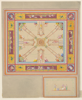 Horizontal format design for a painted ceiling. In the center is a rosette, supported by four supports rising obliquely from the corners, each consisting of a base, two columns, and a winged bust upon a base as a crest. Between the columns stand putti upon pedestals. Women sit upon the corners of the base. In the center of the sides are pavilions with statues of goddesses; women sit beside. Outside is a framing border consisting of oblongs with representations of putti, and circular oblique representations of the figures of women in the corners. An oblong with a classical representation as the decoration of a part of the frieze of the room is shown.
