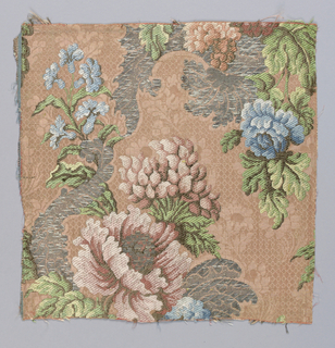 Patterned rose ground with polychrome floral design in silks and silver metallic